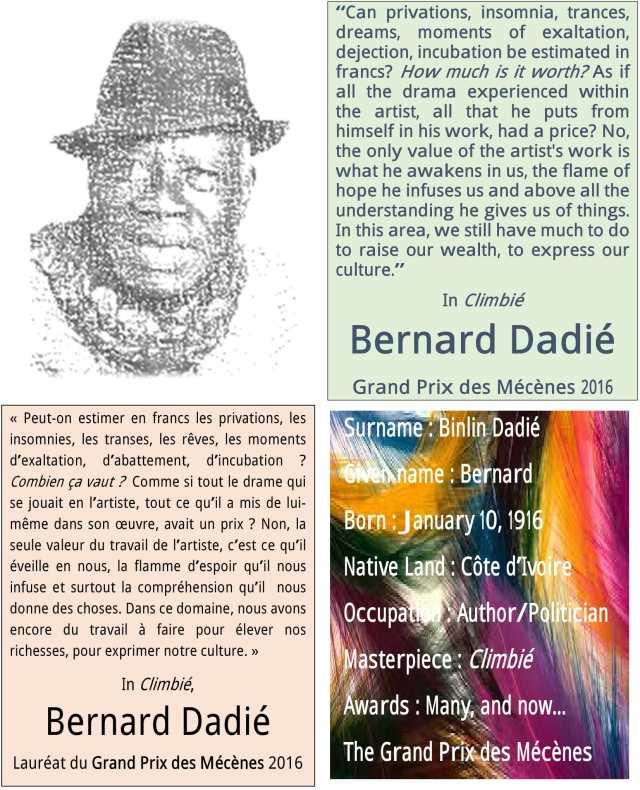 Bernard Dadié Lauréat du Grand Prix des Mécènes 2016