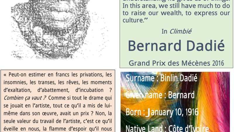 Bernard Dadié, lauréat du Grand Prix des Mécènes 2016 recevra son prix le 9 mars prochain à Yaoundé (Cameroun)
