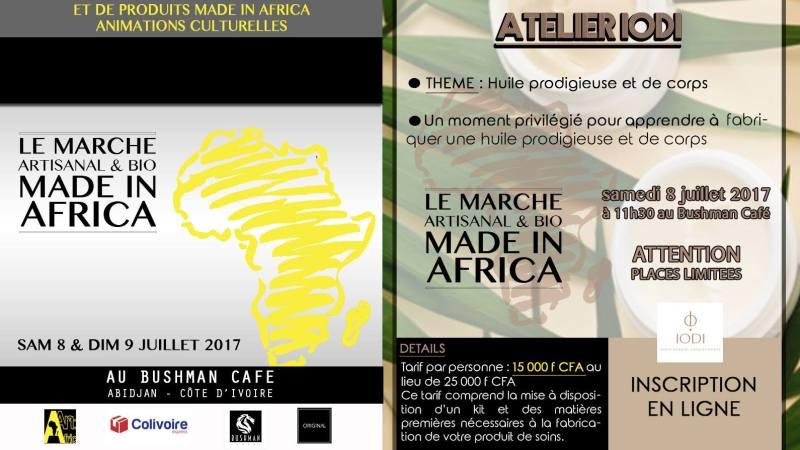 Inscrivez vous à l'Atelier IODI qui se tiendra le 8 juillet à 15h30 dans le cadre du Marché Artisanal et bio – Made in Africa