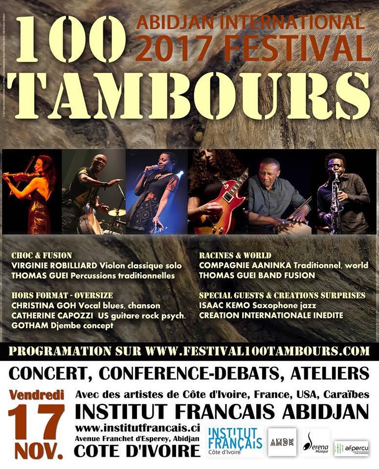 Le Festival 100 Tambours se tiendra ce vendredi 17 novembre 2017 à 20h00 à l'IFCI