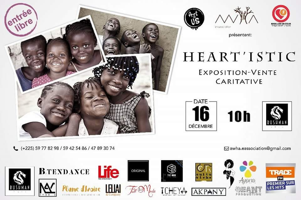 Heart'Istic, une expo-vente caritative – samedi 16 décembre 2017 dès 10h au Bushman Café