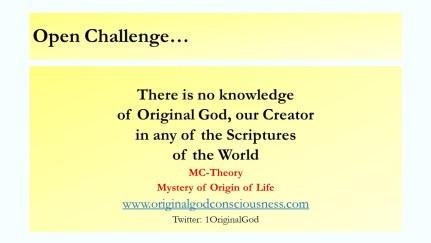No Scriptures has knowledge of Original God