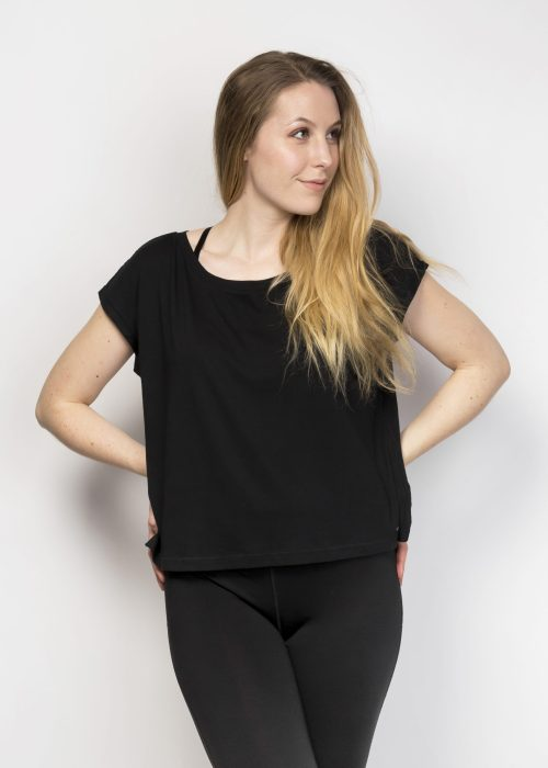 Organic Cotton Cropped Top - Black Oversized Yoga Top - Eco-Friendly Yoga Clothing