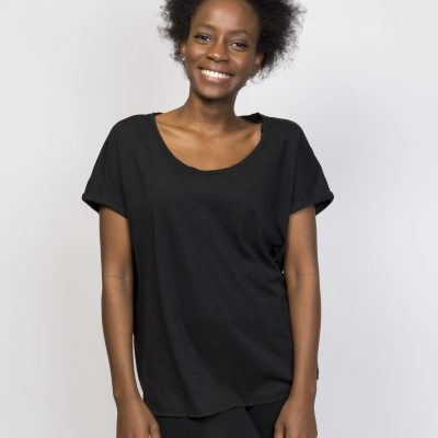 Organic Cotton Loose T-Shirt - Black Tee - Womens Activewear Tops T-Shirts