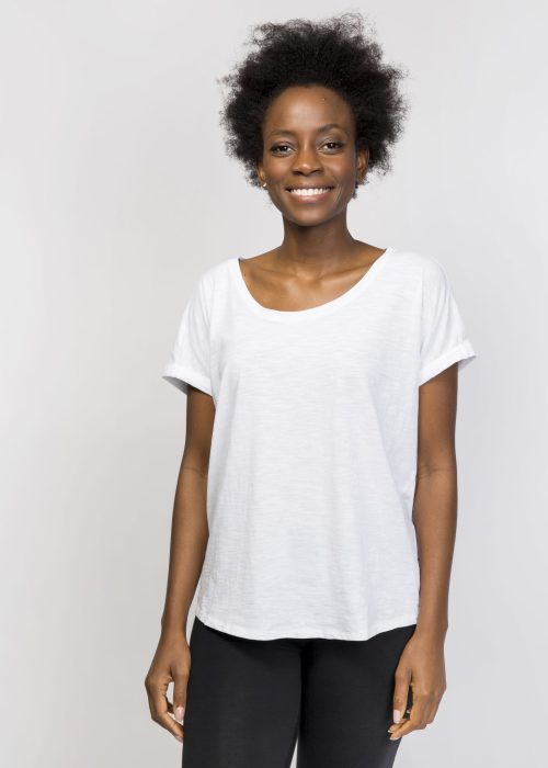 Organic Cotton Loose T-Shirt - White Tee - Best Yoga Clothing UK