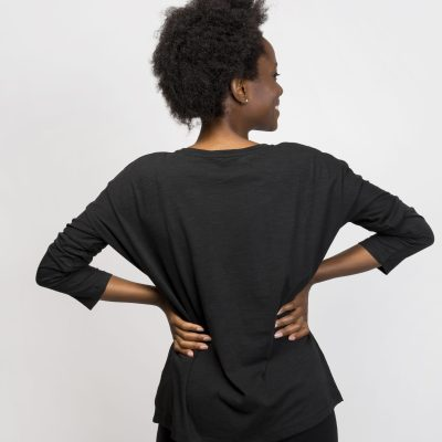 Organic Cotton 3/4 Sleeve Top - Black Top - Long Sleeve T-Shirt Women