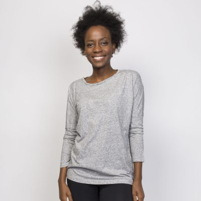 Organic Cotton 3/4 Sleeve Top - Grey Top - 3/4 Sleeve Top Ladies