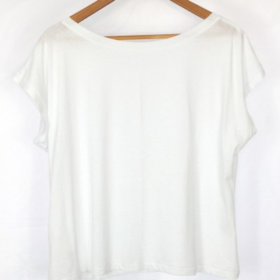 Organic Cotton Cropped Top - White Oversized Yoga Top
