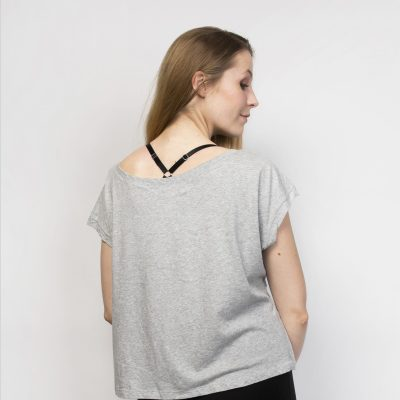 Organic Cotton Cropped Short Sleeve Top | Grey