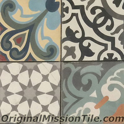 Patchwork cement tiles