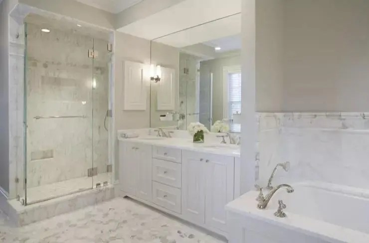 Soft Modern White Marble Bathroom
