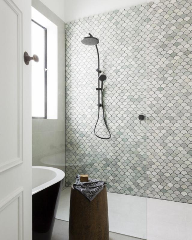 Moroccan Fish Scale Statement Wall, moroccan fish scale tile bathroom