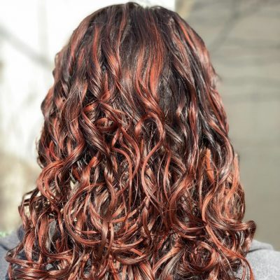 Balayage of brown to red. A picture of color hair.
