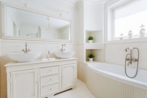 Master Bathroom Remodel with Large Soaking Tub, Double Vanity and Walk-In Shower in Stunning Shades of White
