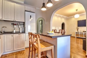 Kitchen Remodel Open to the Living Room with Arched Doorway and Small Island
