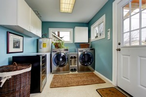 Whole House Remodel with Laundry Room, including White Cabinets, Wine Fridge, Blue Painted Walls and White Trim