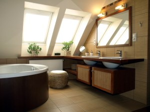 Whole House Remodel with Master Bathroom, including 2 Sinks in Floating Stained Vanity, Soaking Tub and Skylights for Natural Daylighting