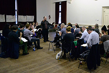 Aldo Ceresa leads a singing school in Belfast, Northern Ireland. Photograph by Ewan Paterson, 2011.