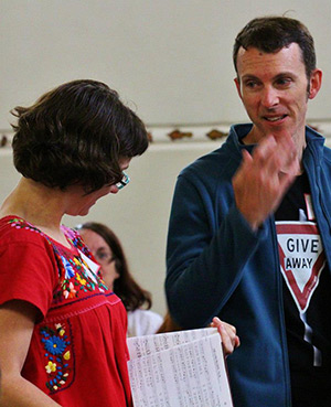 Natalie Sims and Shawn Whelan, who encountered Sacred Harp singing more than a decade ago in the United States, lead at the first Australia All Day Singing. Photograph by Dianne Porter.