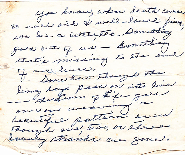 Handwritten note by Ruth Denson Edwards found tucked into her bible, containing the text of a memorial lesson she gave. Image courtesy of Mike Hinton.