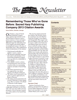Printable version of the Sacred Harp Publishing Company Newsletter, Vol. 2, No. 3 (2.3 MB PDF).