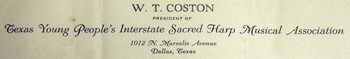 W. T. Coston's letterhead as president of the Texas Young People's Interstate Sacred Harp Musical Association.