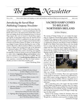 Printable PDF design template for the Sacred Harp Publishing Company Newsletter, Vol. 1, No. 1.