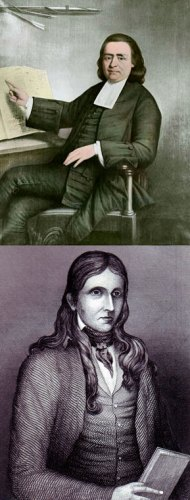 Samson Occom (top) and Lorenzo Dow (bottom) were among the American evangelists who traveled to England around the turn of the nineteenth century. Painting of Occom courtesy of Dartmouth College Library, CC BY-NC. Engraving of Dow from the Encyclopedia of Alabama.