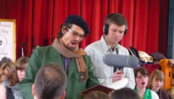 Ciarán Ryan and Aaron Kahn at the 2014 Ireland Sacred Harp Convention.