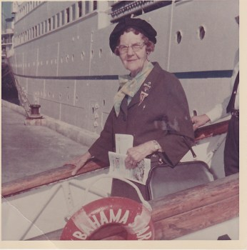 Ruth Denson Edwards, bound for Nassau, on a cruise with a retired teachers group, early 1960s. Photograph courtesy of Michael Hinton.