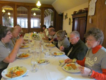 American and English singers enjoy delicious Polish food at Camp Fasola Europe. Photograph by Linda Thomas.