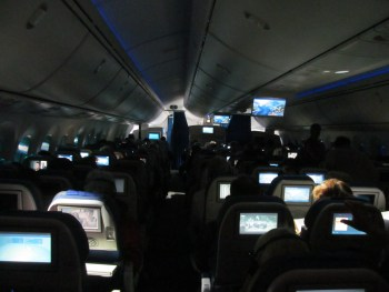 The flight home on a LOT Polish Airlines 787 Dreamliner. Photograph by Linda Thomas.