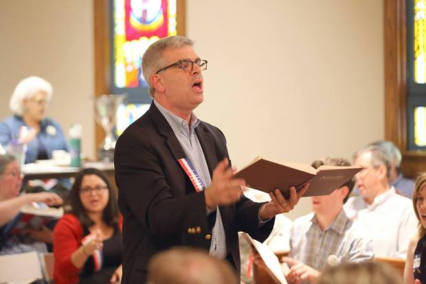 Jim Neal, co-chaplain, leads at the 2015 United Convention. Photo by Pat Graham.
