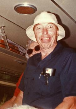 Jeff Sheppard, always an entertainer, often in a borrowed hat, aboard one of the many bus trips to far-off singings organized by Ruth and Leman Brown. Photograph courtesy of the Sacred Harp Museum.