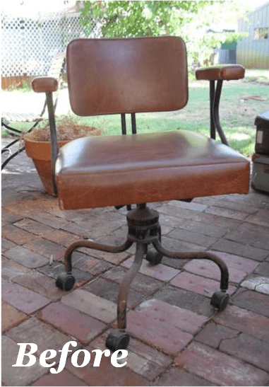 desk chair diy swivel glides vintage origin interiors i picked up a from gumtree few weeks ago top picture and thought it looked ok as is but on closer inspection the leather turned