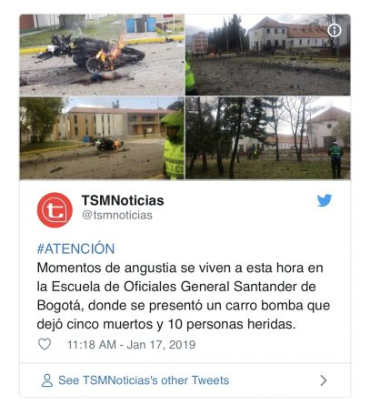 Bogota explosion: Eight dead and 10 injured after car bomb