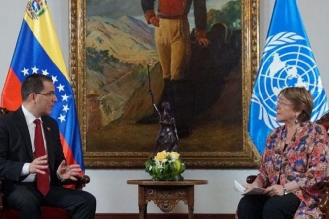 Chancellor Arreaza Discusses the Impact of the US Blockade With Bachelet