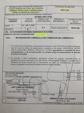 Real official Venezuelan memo