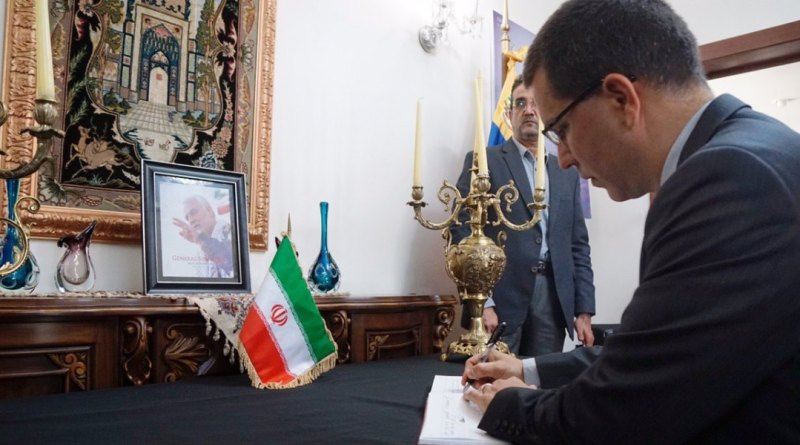 Venezuelan Foreign Minister Signs Book of Condolences for the Assassinated Iranian General Qassem Soleimani