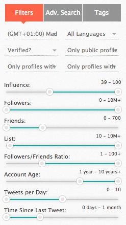 Criterios Filtro SocialBro
