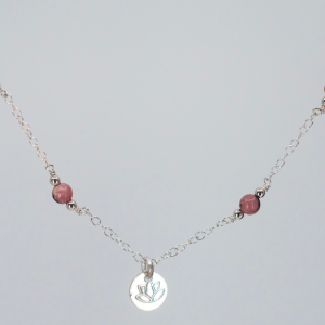 LOTUS CHARM NECKLACE • RHODONITE