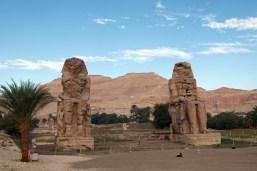 メムノンの巨像、手前に黒いワンコがいるので大きさを比較してみてください。