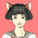 【女の子イラスト】猫耳セーラー服の女の子