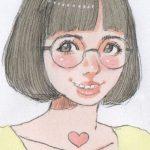 節約脳にオレはなる/「丸めがね」女の子イラスト