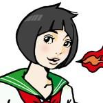 【女の子イラスト】火を吐くセーラー服の女の子