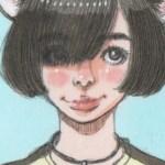 【女の子イラスト】猫耳ボブの女の子アナログイラスト