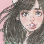 【女の子イラスト】猫耳と花柄ワンピースの女の子アナログイラスト