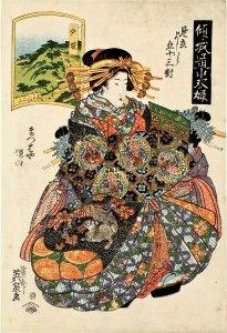 Keisai Eisen Totsuka: Masuyama di Matsubaya dalla serie: Gioco del Tōkaidō con cortigiane: Cinquantatré coppie a Yoshiwara, 1825