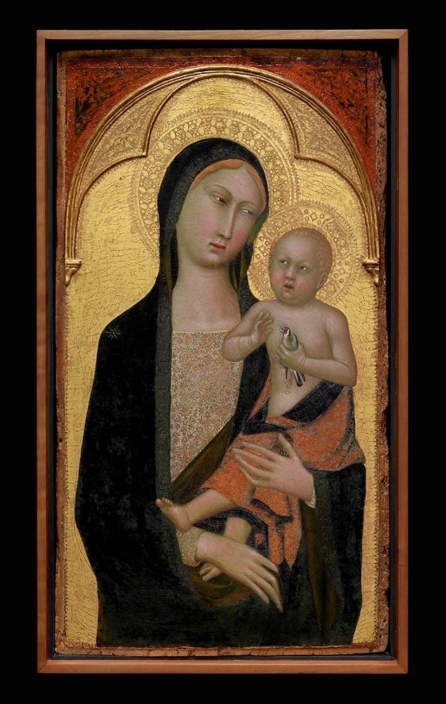 Maestro della Madonna Straus (attivo 1385-1415) Madonna con il Bambino Tempera e foglia d'oro su tavola, 90,1 x 48,2 cm