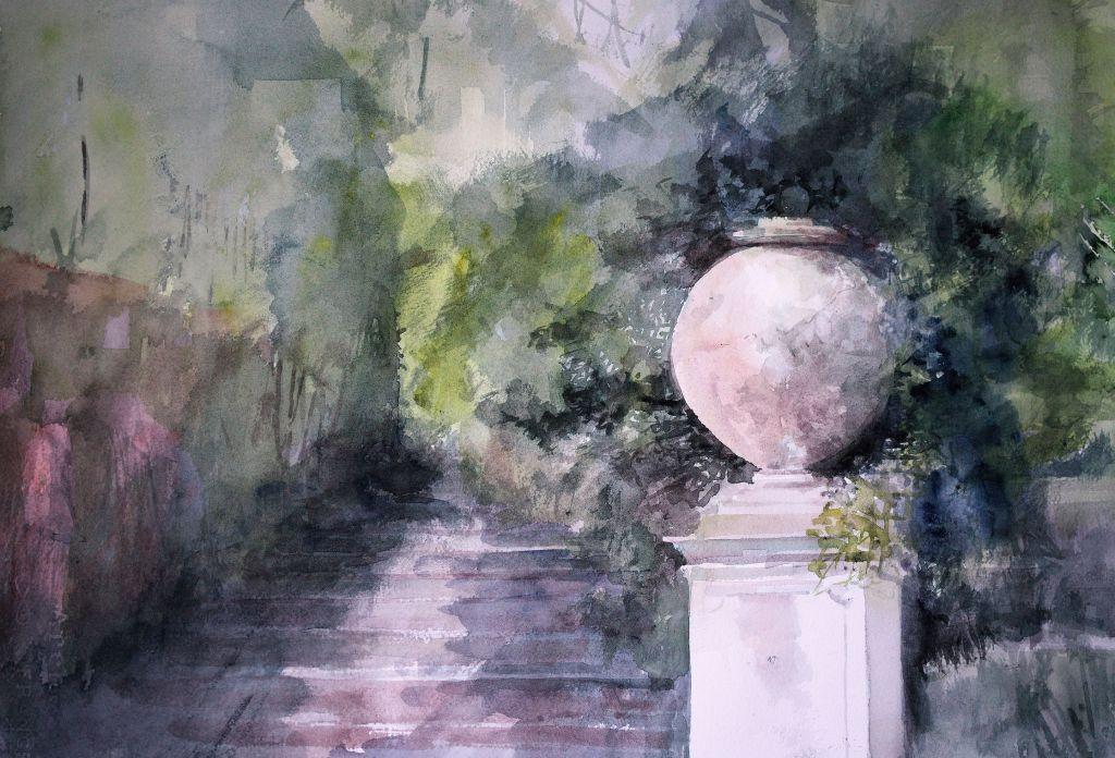 Silvano Tacus Villa Pamphilj - il vaso, acquerello su carta, Verdi Armonie